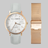 White Marble & Rose Gold Watch With Mesh Strap Gift Set