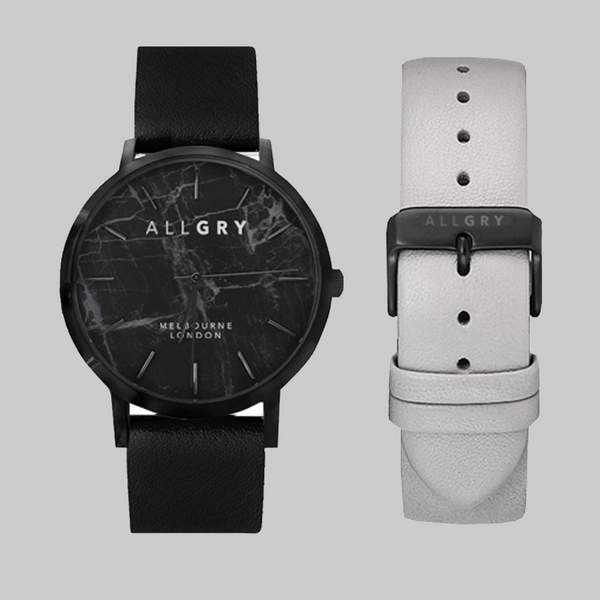 All Black Marble Watch with Leather Strap Gift Set
