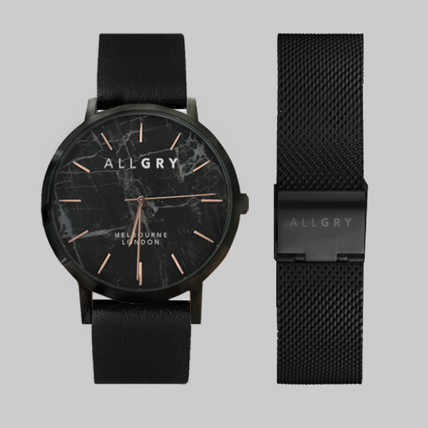 Black Marble & Rose Gold Watch with Black Leather and Black Mesh Strap Gift Set