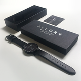 All Black Marble Watch with Black Leather Strap