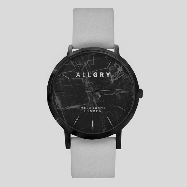 Black Marble & Grey Strap Watch