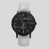 Black Marble & Rose Gold Watch with Grey Stitched Leather Strap