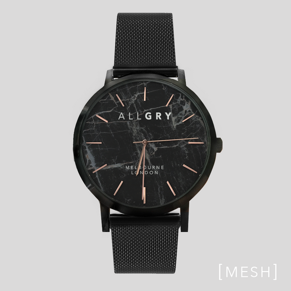Black Marble & Rose Gold Watch with Black Mesh Strap