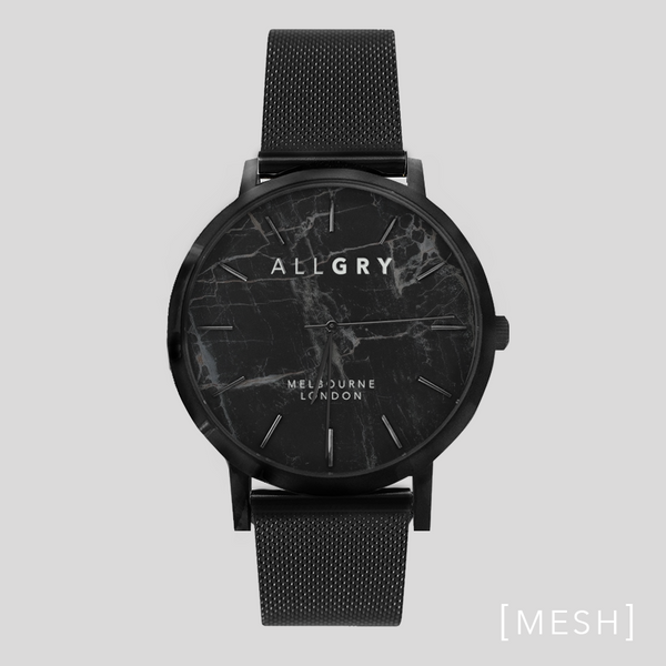 All Black Midnight Marble Watch with Black Mesh Strap