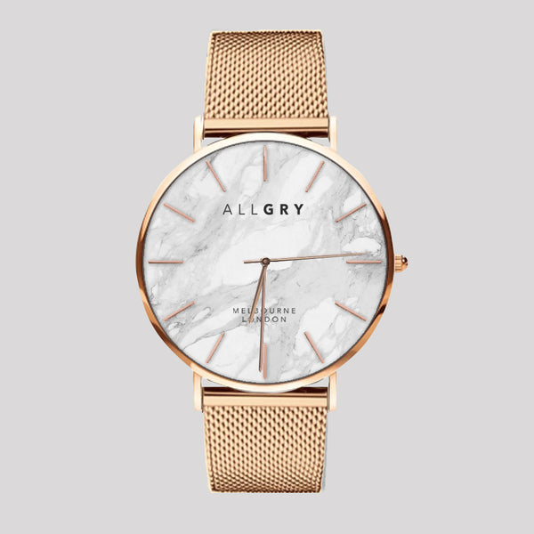 White Marble & Rose Gold Slim Case Watch with Rose Gold Mesh Strap