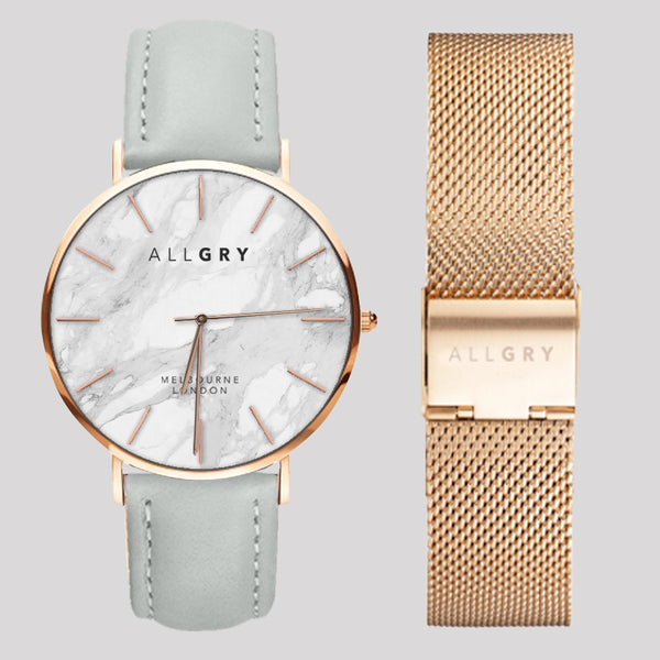Rose Gold & White Marble Slim Case Watch with Grey Stitched Leather and Mesh Strap Gift Set
