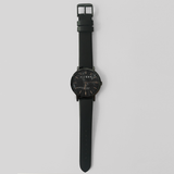 Black Marble & Rose Gold Watch with Black Leather Strap