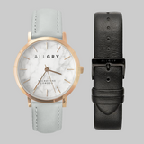 White Marble & Rose Gold Watch With Leather Strap Gift Set