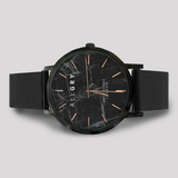 Black Marble with Rose Gold Watch with Mesh Strap
