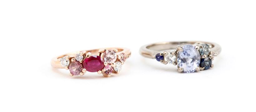 sapphire engagement ring and ruby engagement ring