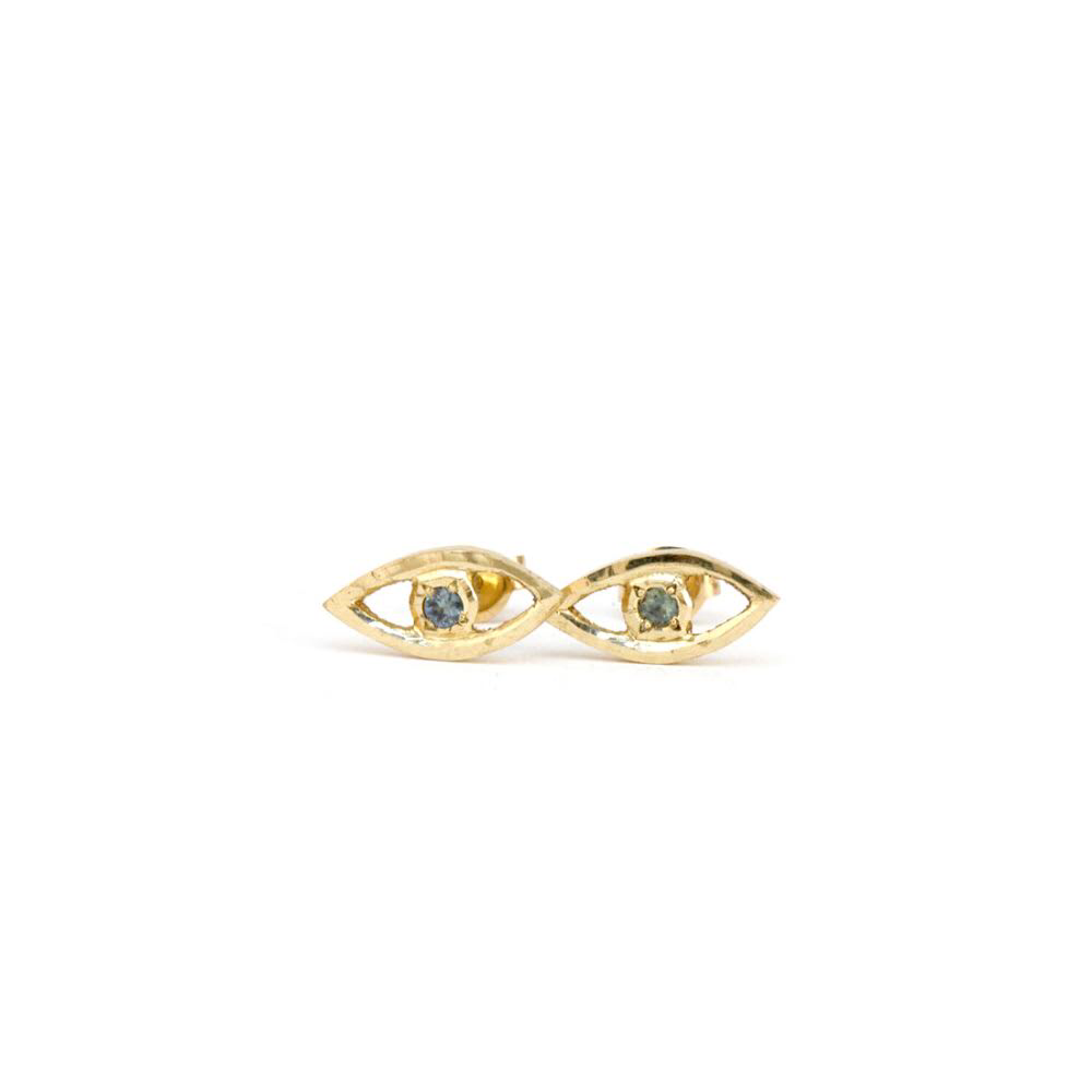 sapphire eye earrings in 9ct yellow gold