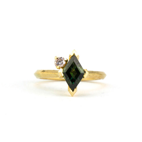 Kite cut Australian Sapphire with champagne diamond engagement ring