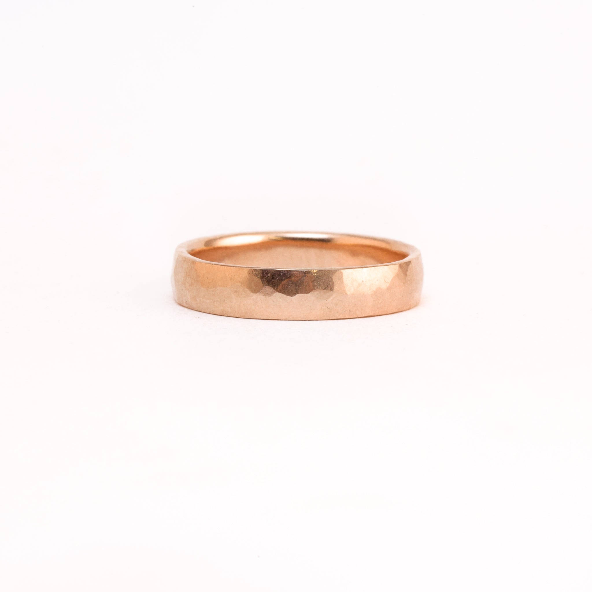 Wide 18ct rose gold hammered finished ring - made in Melbourne.