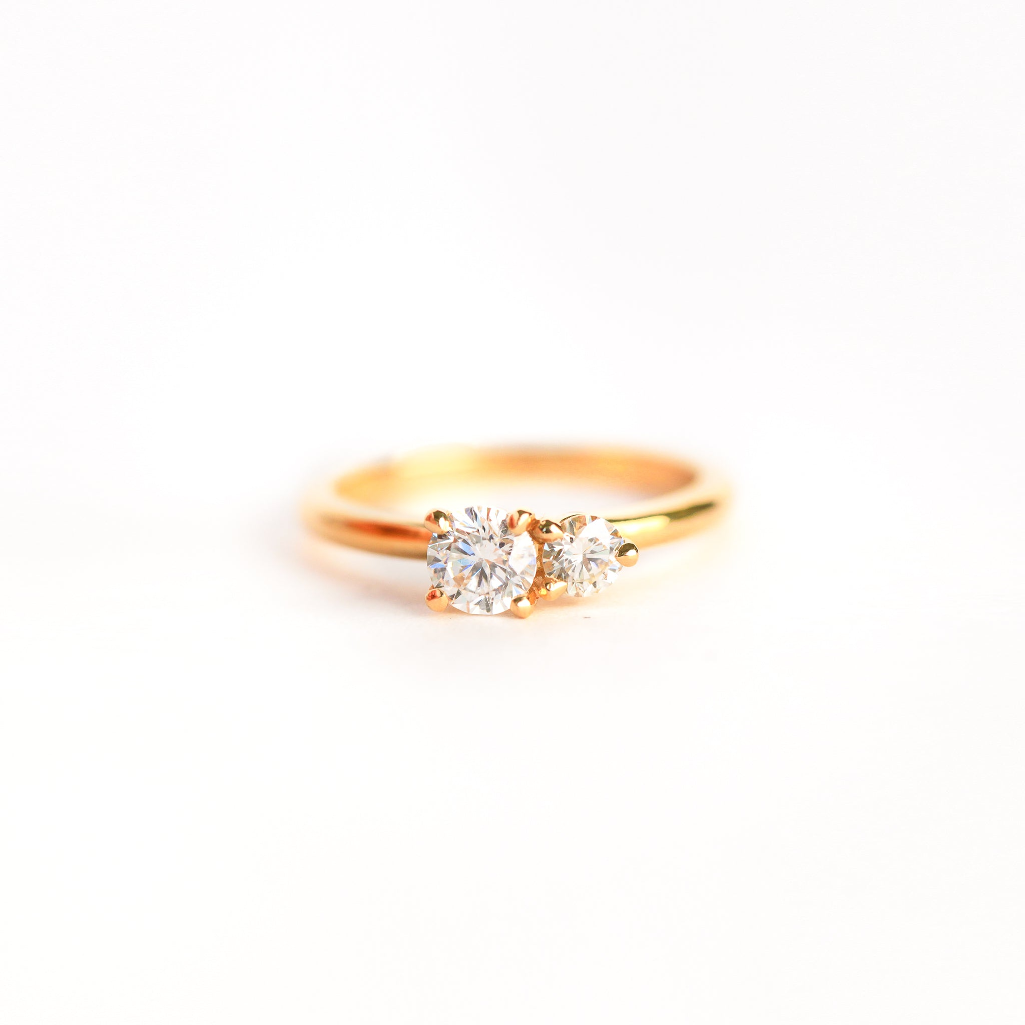 Handmade in Melbourne Two Stone Diamond Engagement Ring in 18ct Yellow Gold