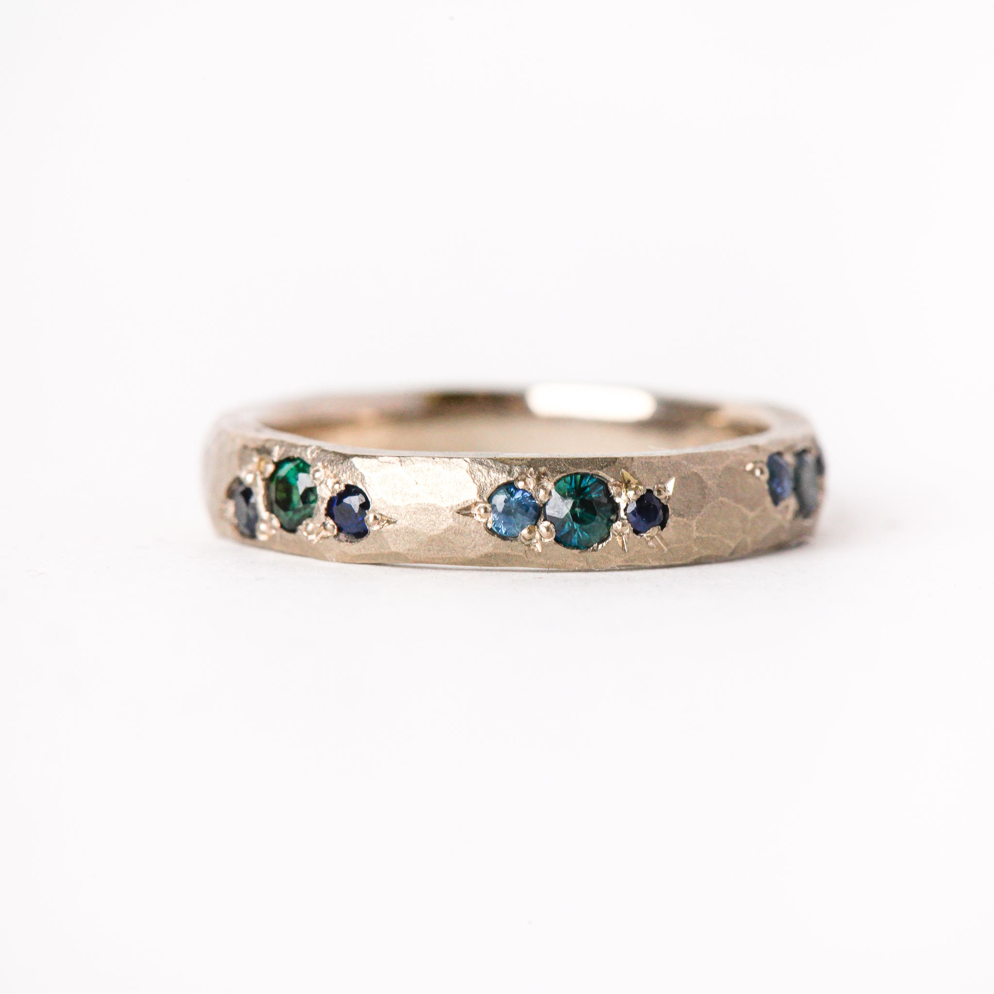 Handmade Men's Wedding Band in 18ct White Gold with Ethically Sourced Australian Sapphires
