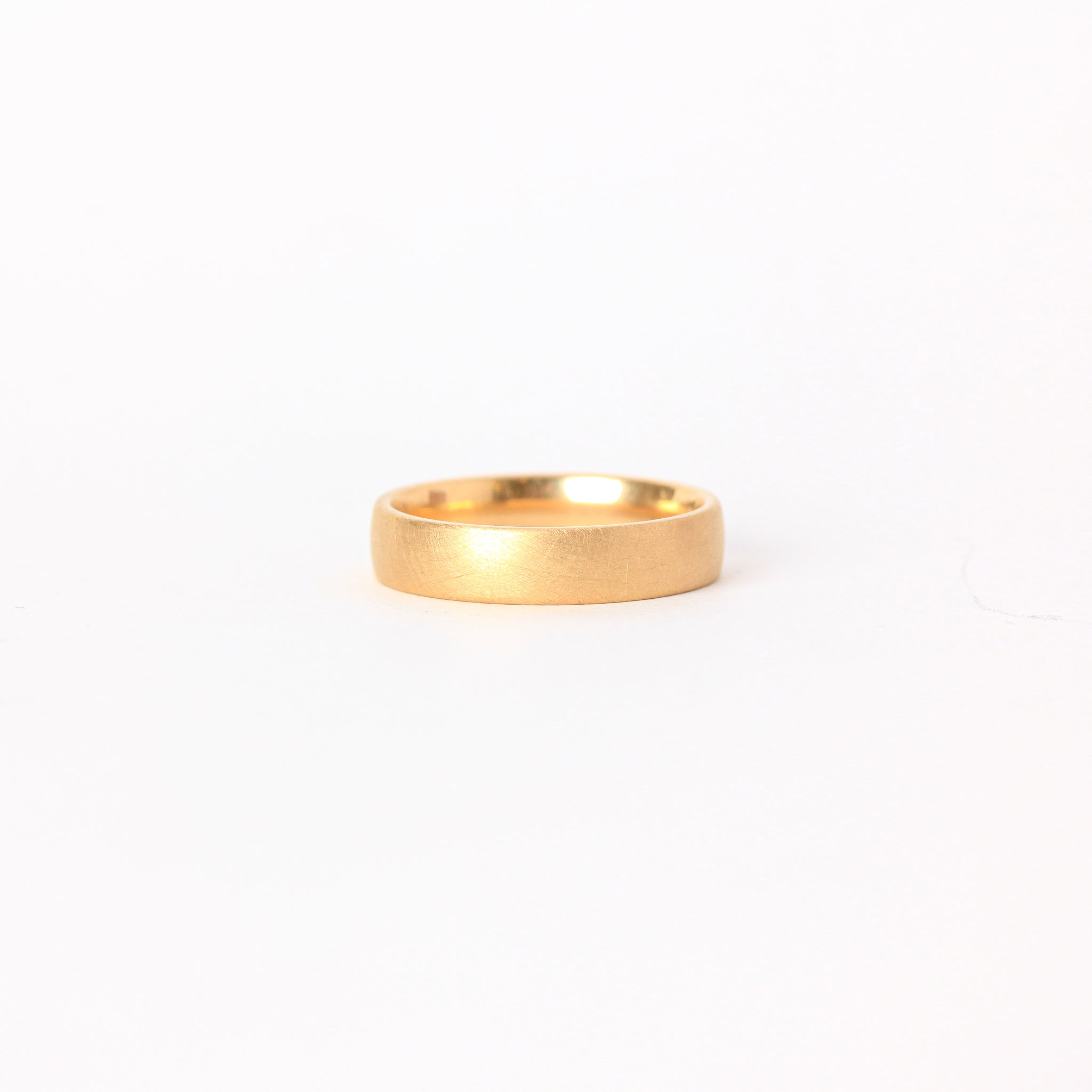 Classic mens 18ct yellow gold wedding band with matte finish, Mens wedding band 18ct yellow and rose gold, hand carved textured finish, Custom bespoke handmade jewellery.