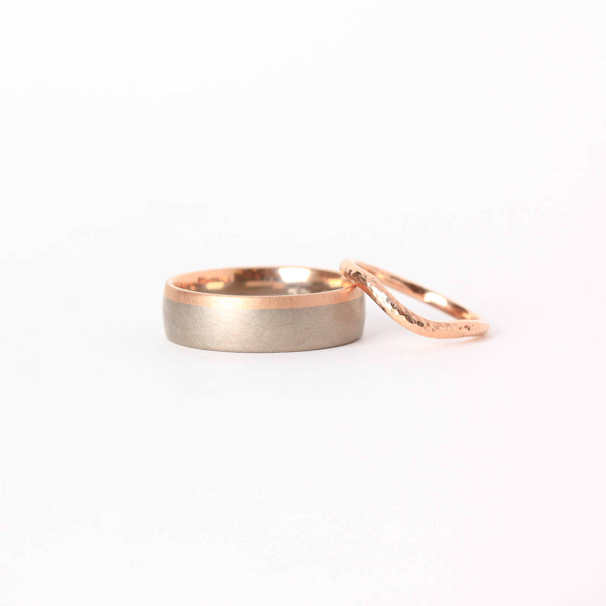 Handmade Wedding Band in 18ct White and Rose Gold