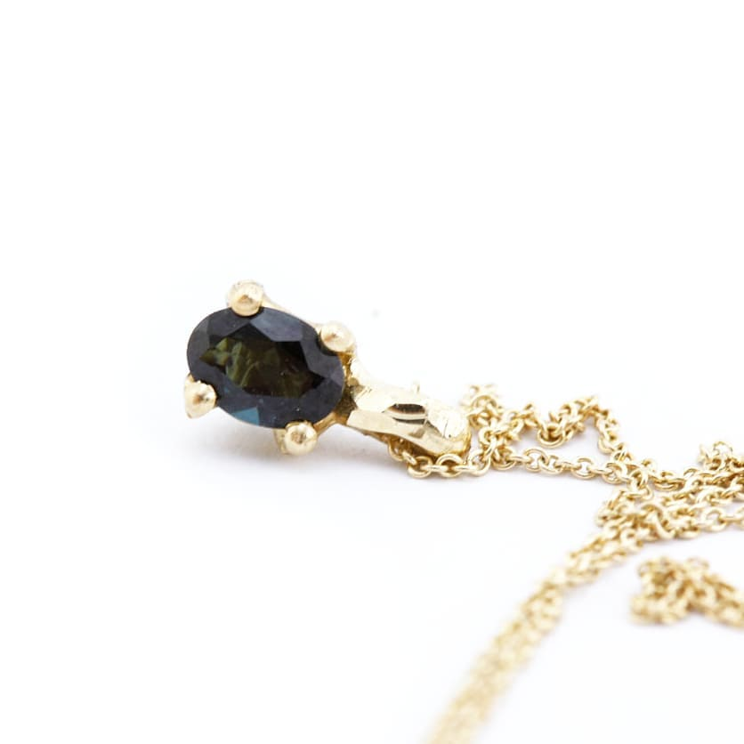 oval sapphire pandant with 9ct gold claws and 9ct yellow gold chain, Custom bespoke handmade