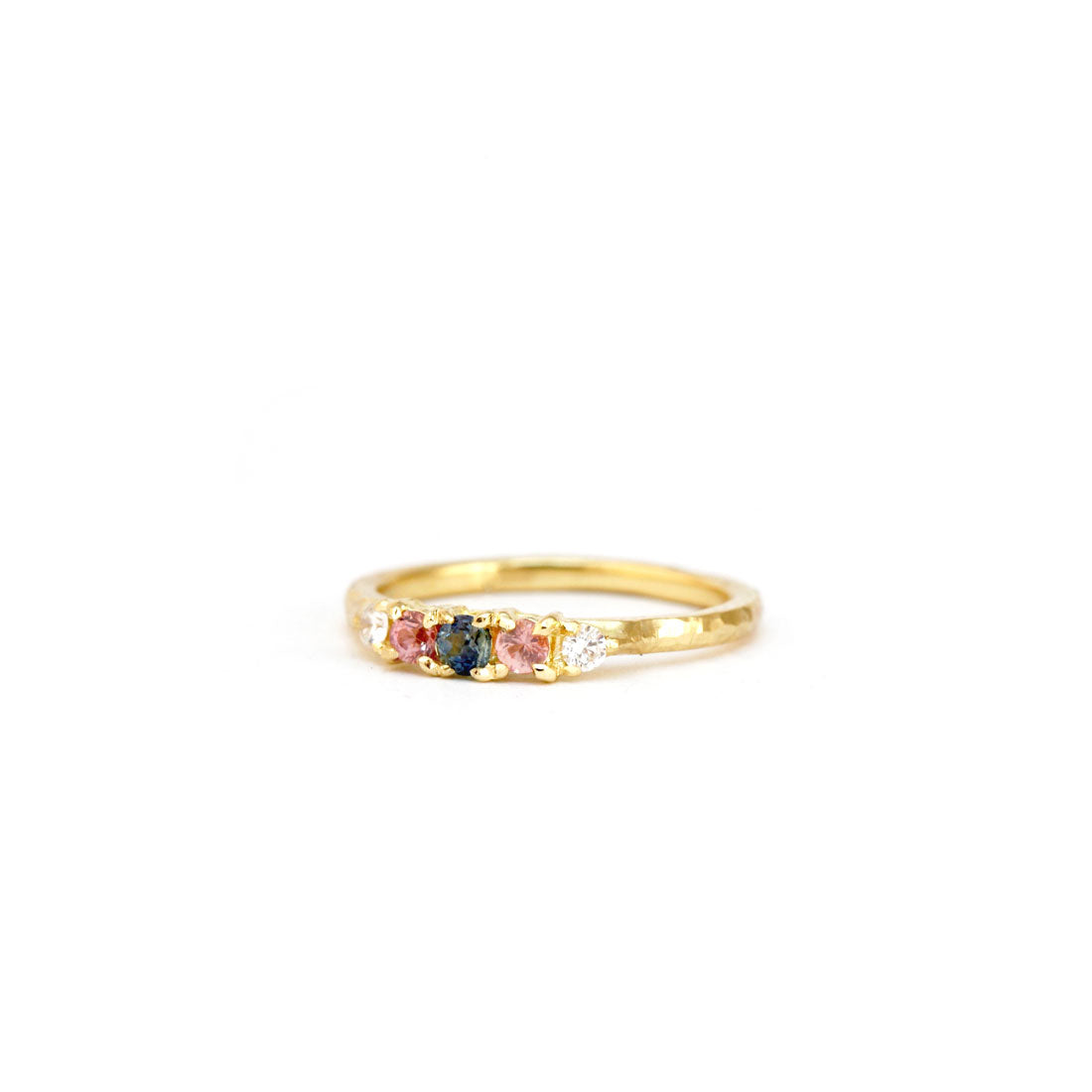 Pink and Blue Sapphire and white diamond engagement wedding ring in 18ct yellow gold, custom bespoke handmade.