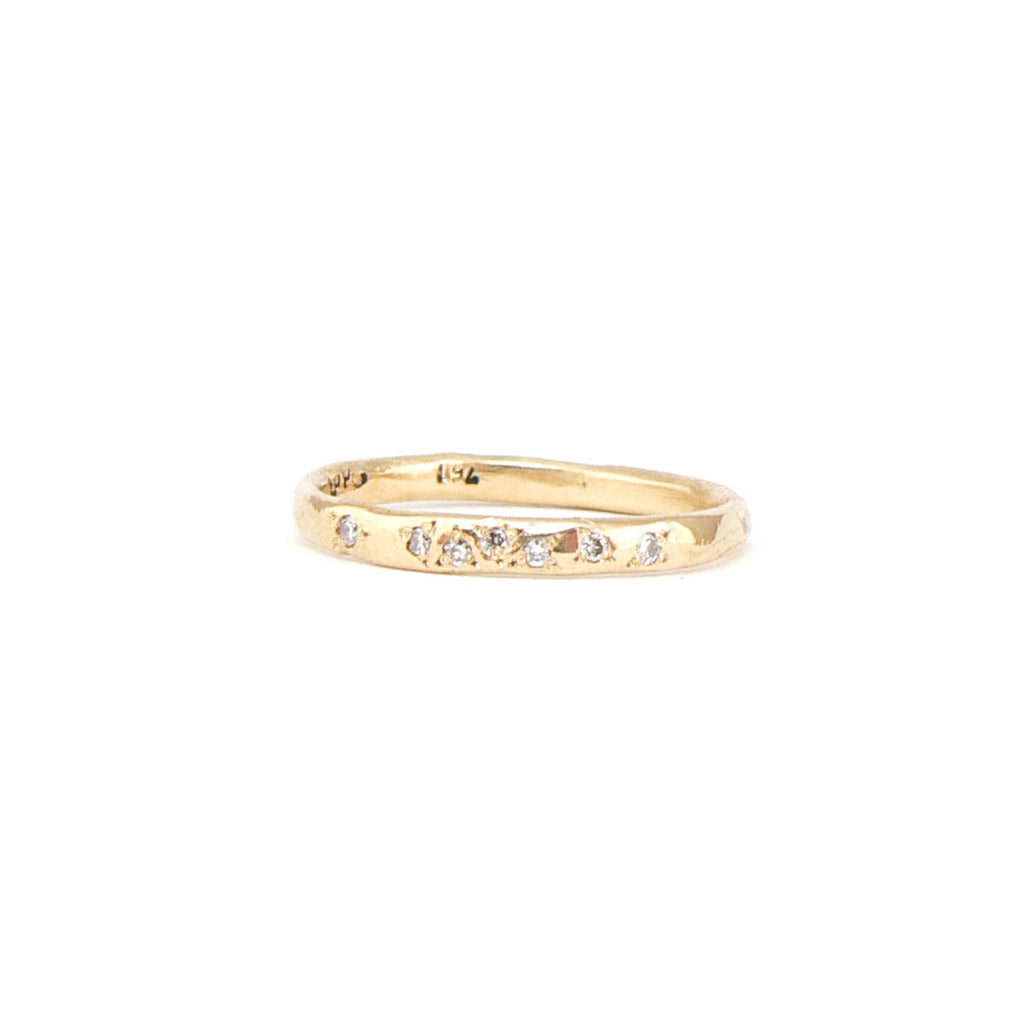 Fine champagne diamond wedding band