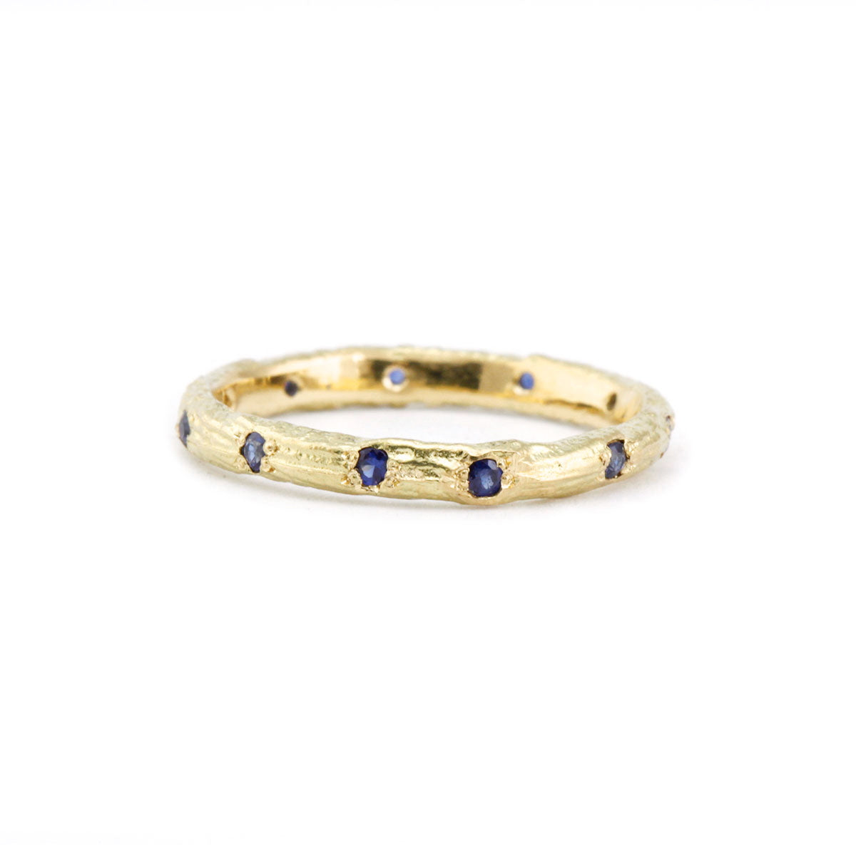Sapphire wedding ring band organic look