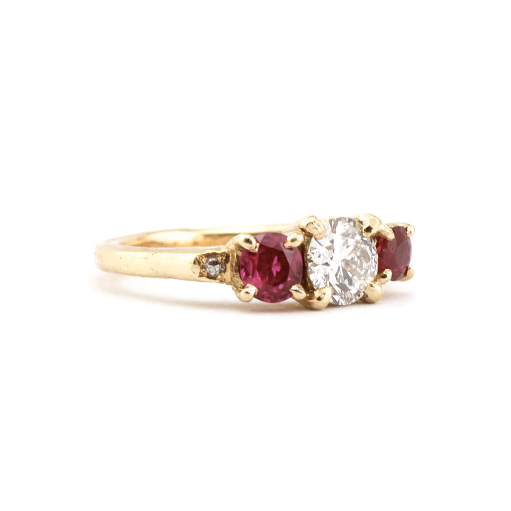 Diamond Ruby Cluster Ring