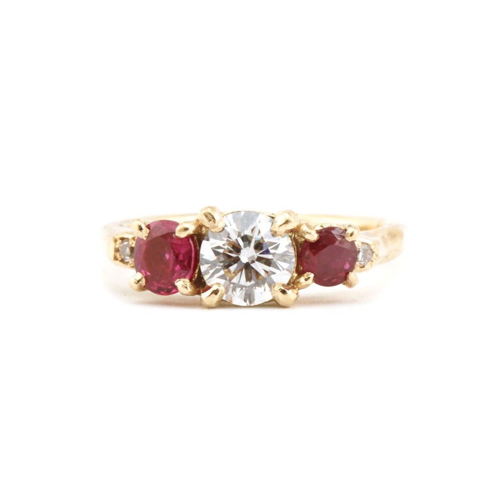 Ruby cluster ring with diamonds in 18ct Yellow gold