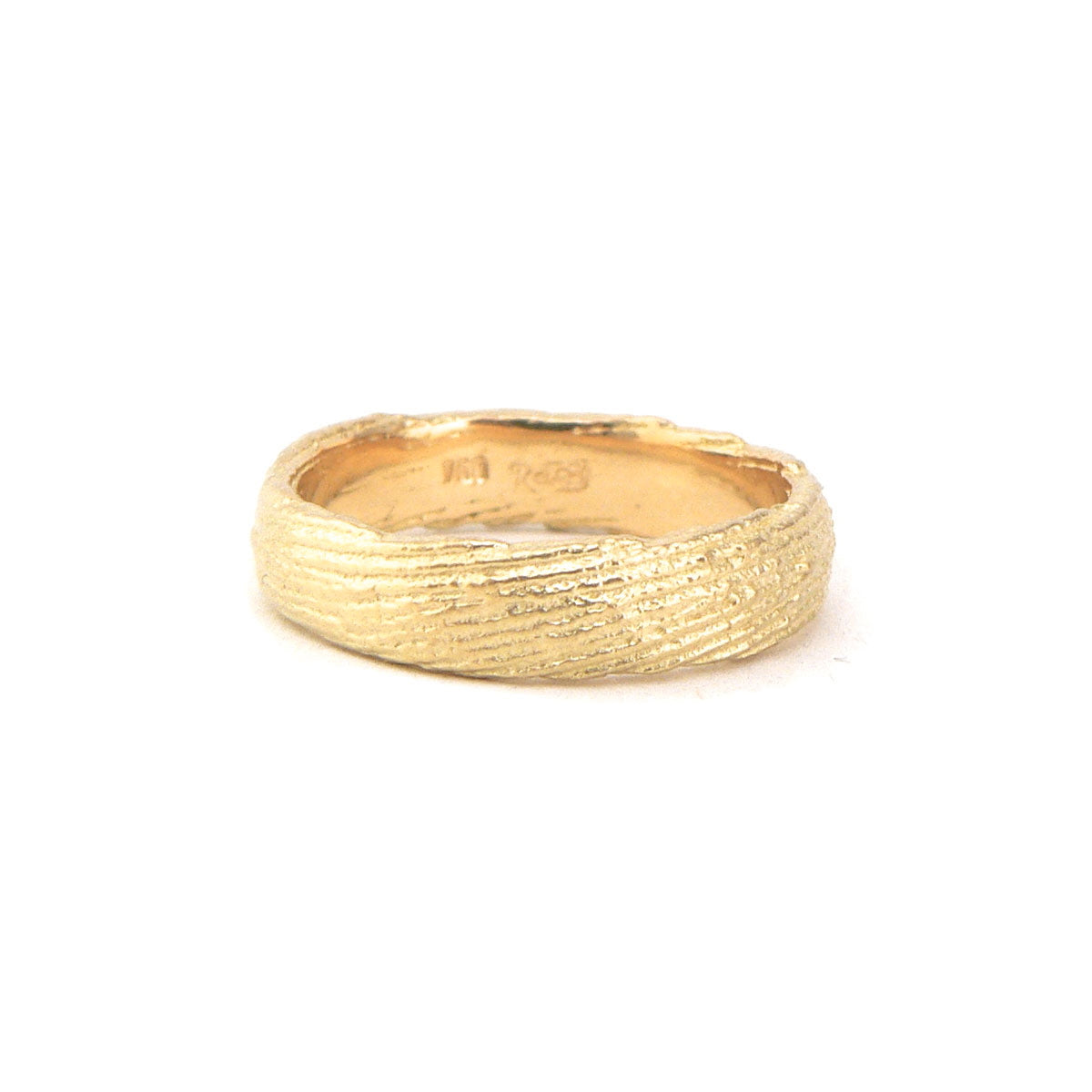 Earthy textured mens 18ct yellow gold band, custom handmade bespoke jewellery.