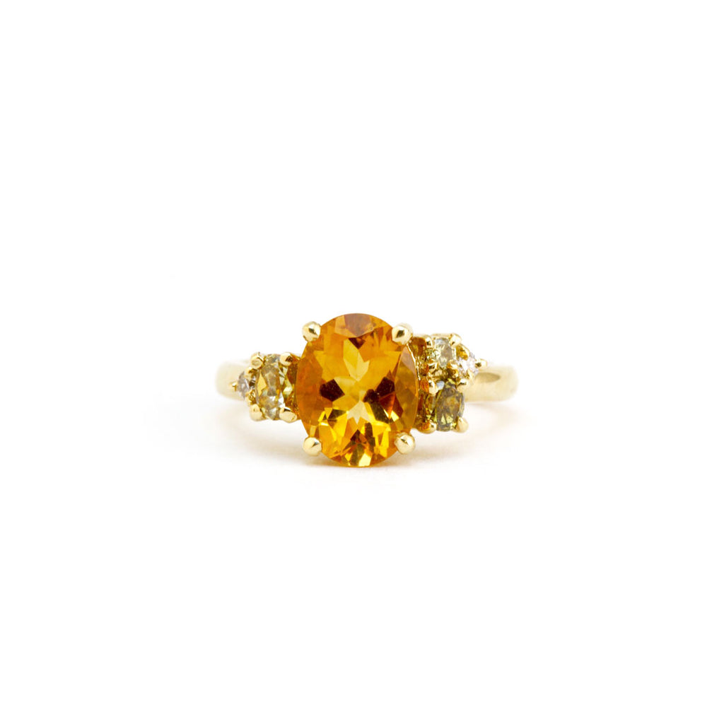 Citrine cluster ring in yellow gold