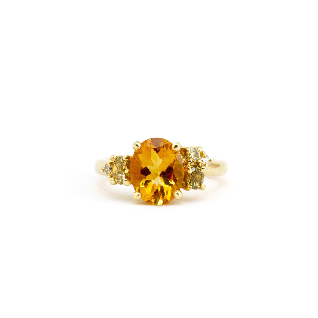 Citrine cluster engagement ring in 18ct yellow gold, Custom Bespoke Handmade.
