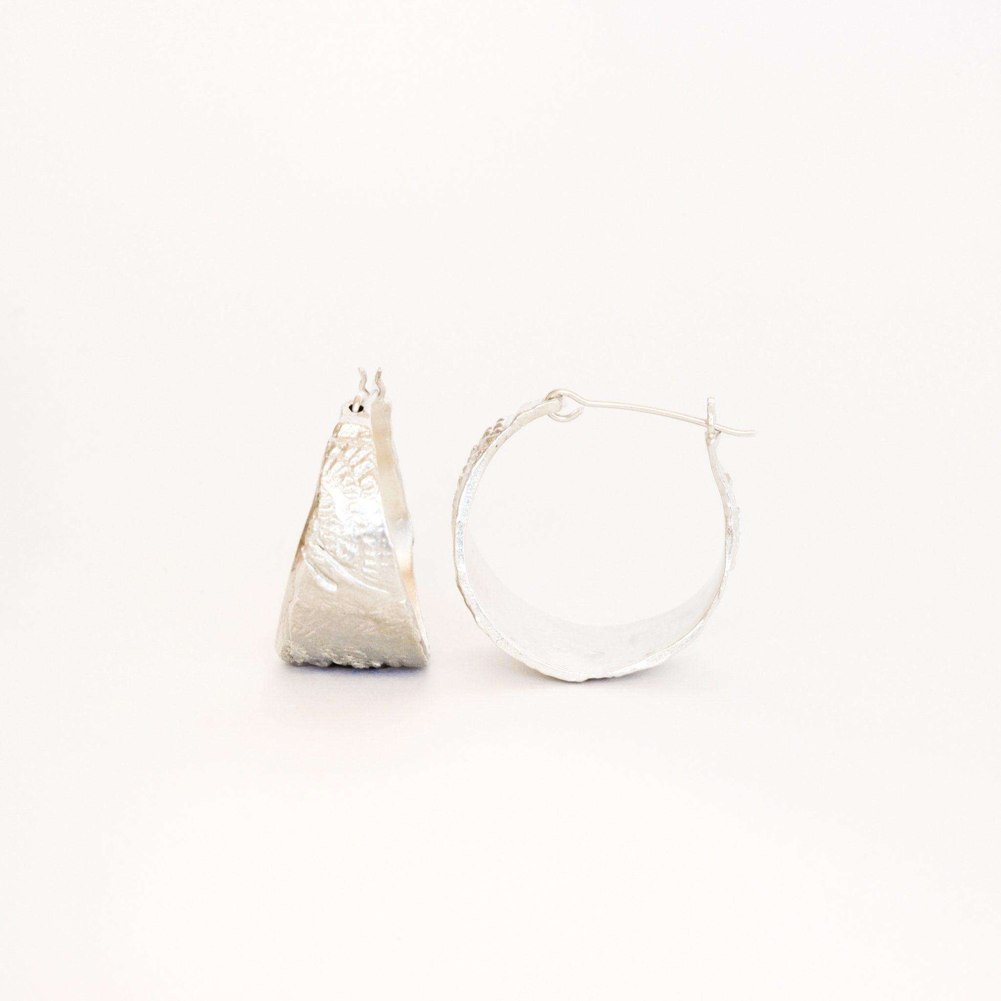 Handmade Textured Hoop Earrings in Sterling Silver, Hand Made Jewellery, Made in Melbourne