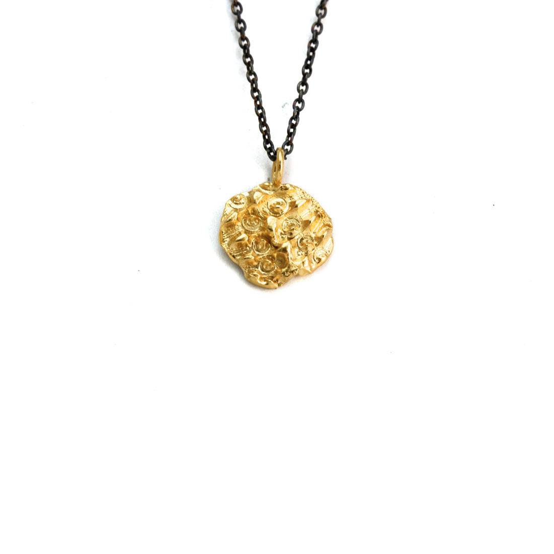 Textured gold plated pendant on oxidised silver chain, Bespoke custom handmade