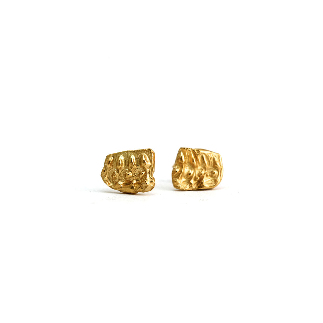 gold textured earring studs in 18ct gold plate, custom handmade bespoke jewellery.