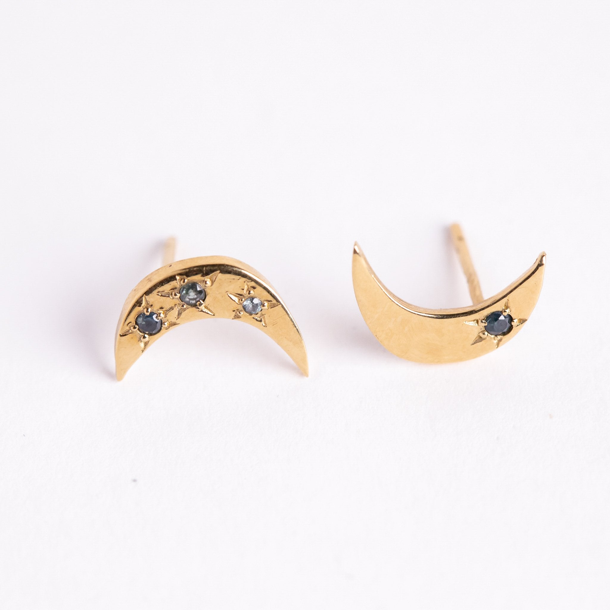 9ct moon shape Gold Stud Earring with Australian Sapphires, Hand Made Jewellery, Made in Melbourne