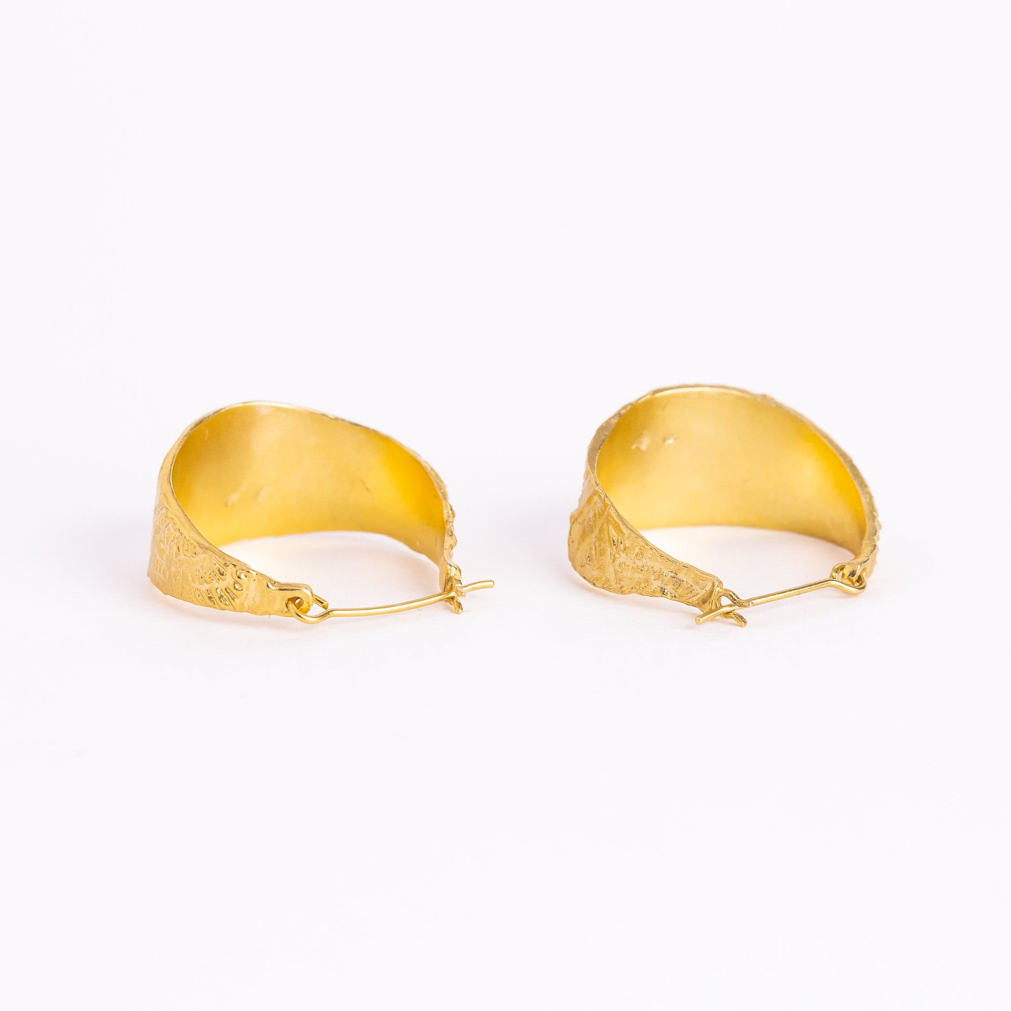Handmade Textured Hoop Earrings in 18ct Gold Plate, Hand Made Jewellery, Made in Melbourne