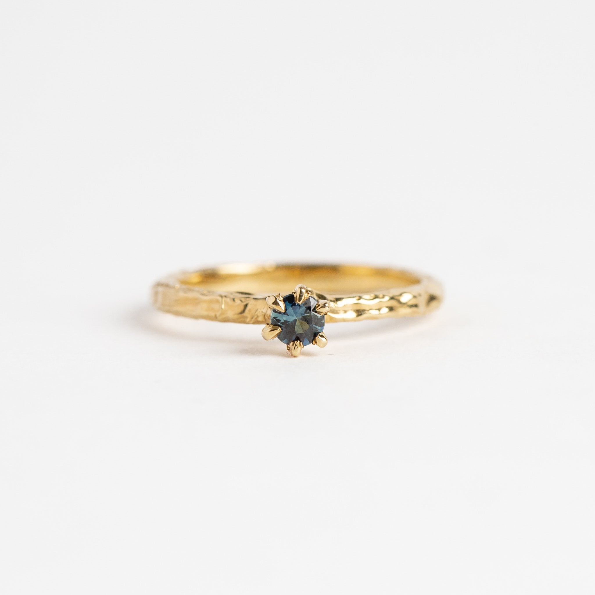 9ct Yellow Gold Claw Ring with Ethically Sourced Australian Sapphire, Hand Made Jewellery, Made in Melbourne