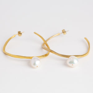 Pearl on gold gold plate hoop earring, Custom bespoke handmade.