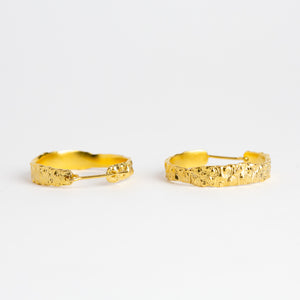 Gold plated Textured Hoop Earrings, Custom Bespoke Handmade jewellery.
