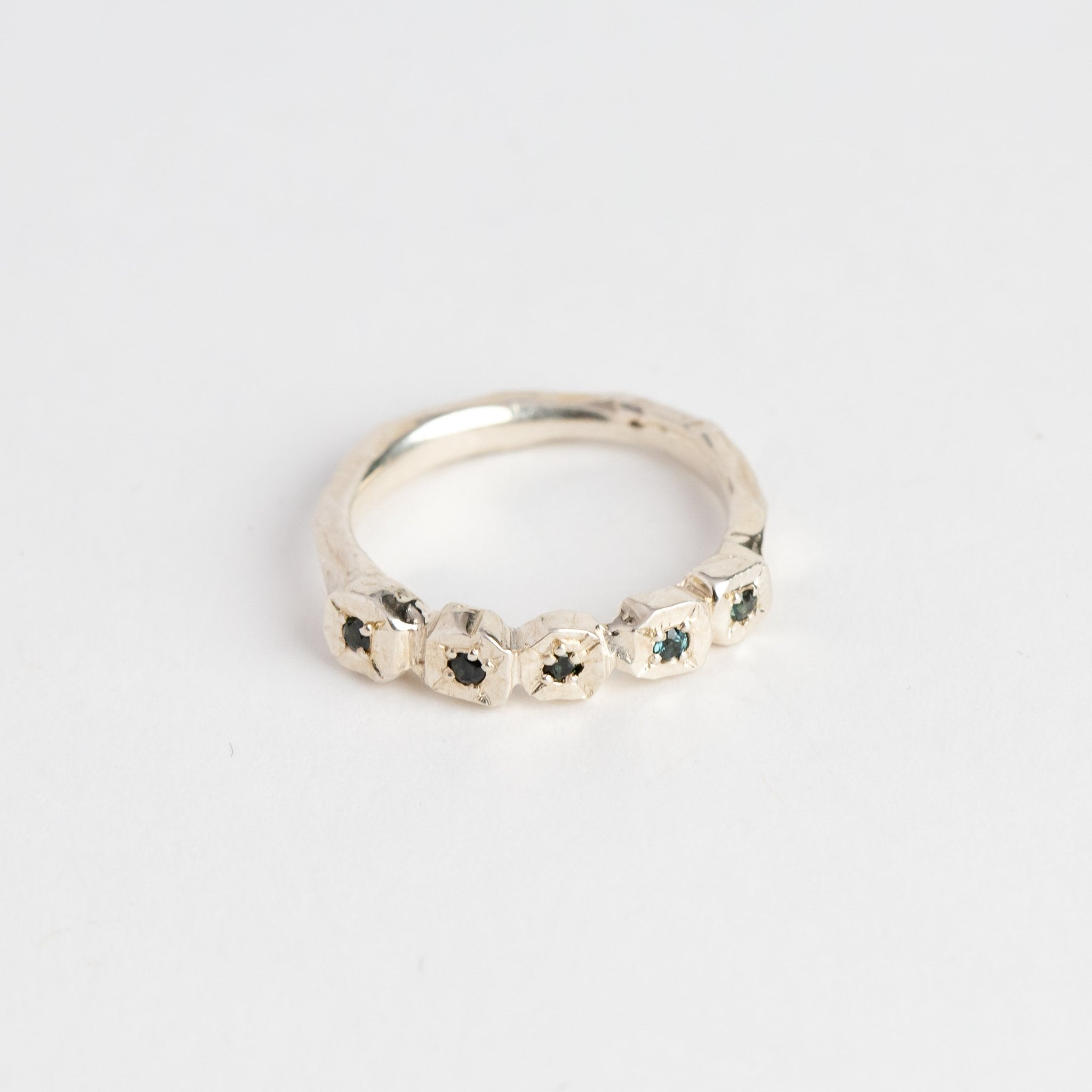 Handmade Silver Ring with Ethically Sourced Australian Sapphires, Hand Made Jewellery, Made in Melbourne