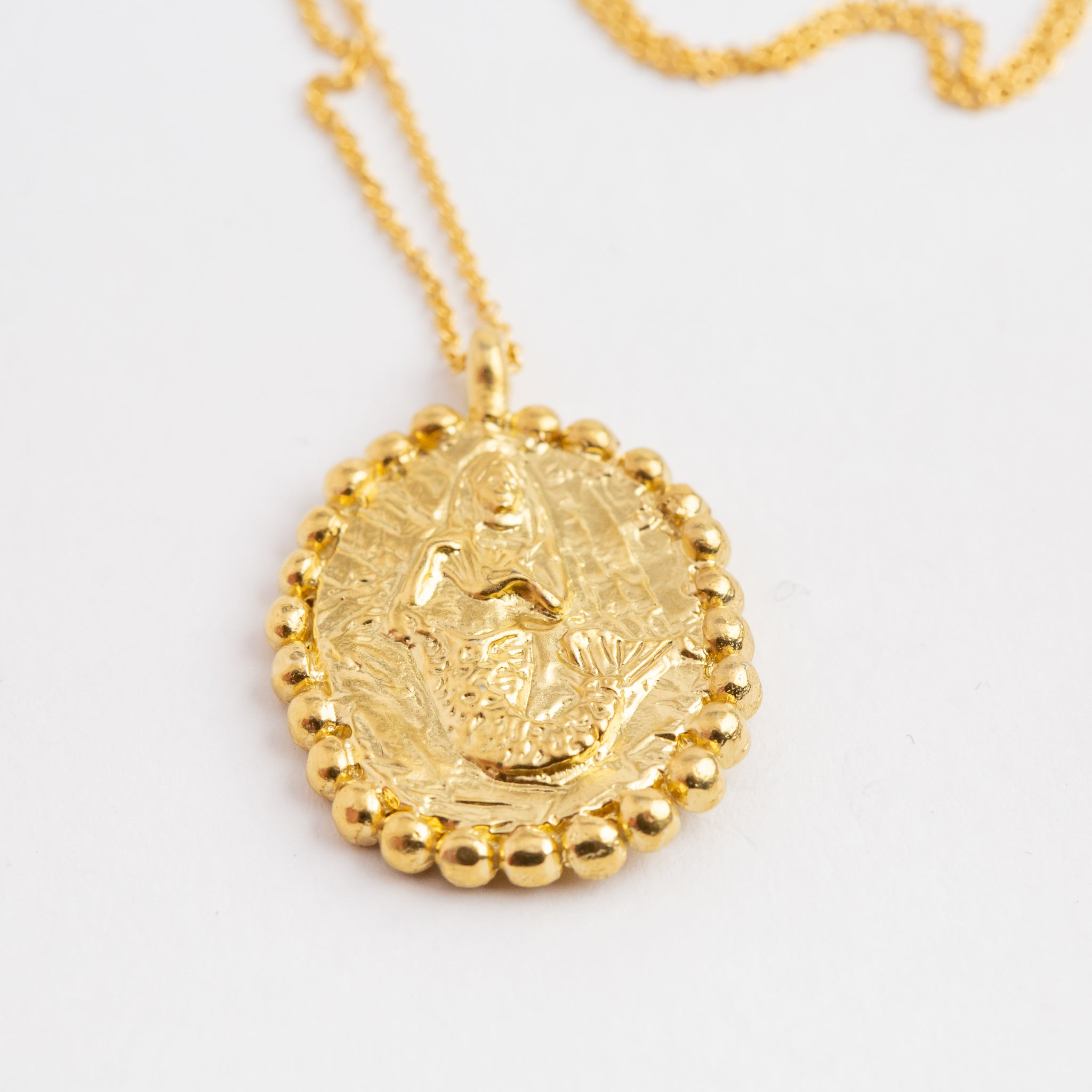 Gold Plate mermaid pendant on gold plate chain, custom bespoke handmade.