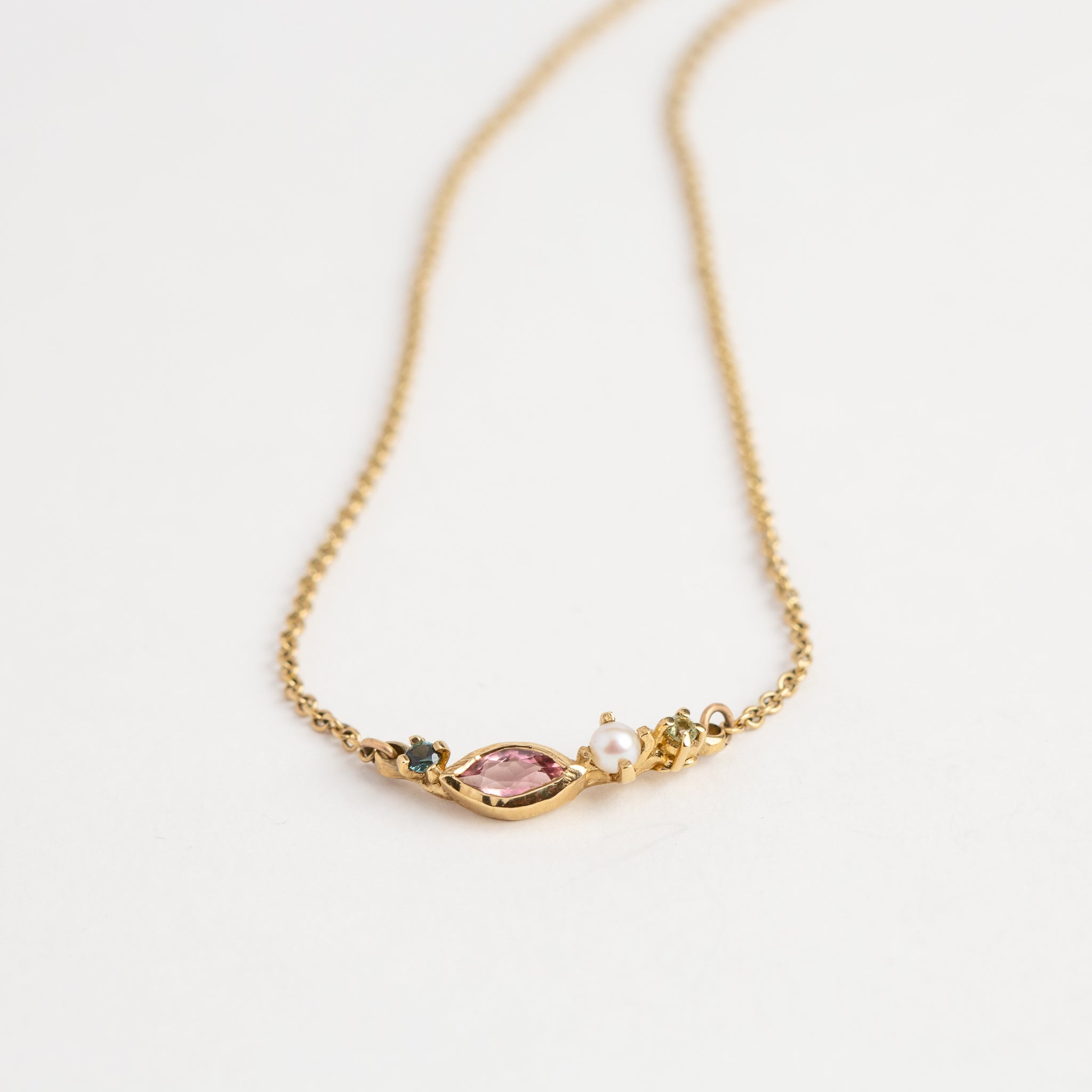 Pink Tourmaline, Pearl and Blue Green Sapphires in 9ct gold Necklace, Custom bespoke handmade.