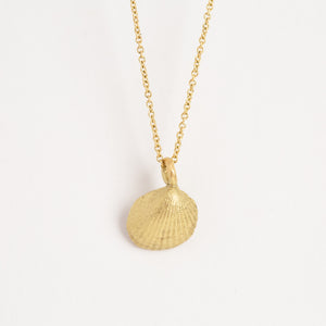 ethically sourced Australian pearl in 9ct yellow gold shell pendant on 9ct gold chain, bespoke custom handmade