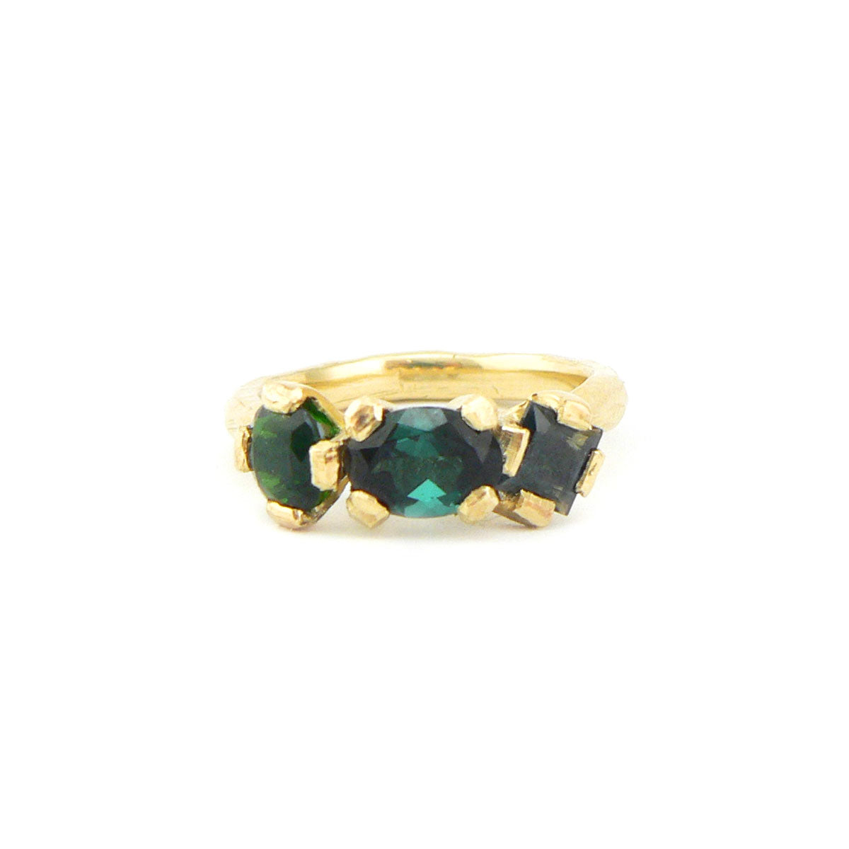 ethically sourced tourmalines in 18ct yellow gold engagement ring, bespoke custom handmade