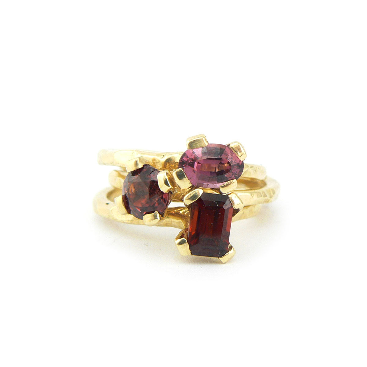 garnet and gold carved stack ring