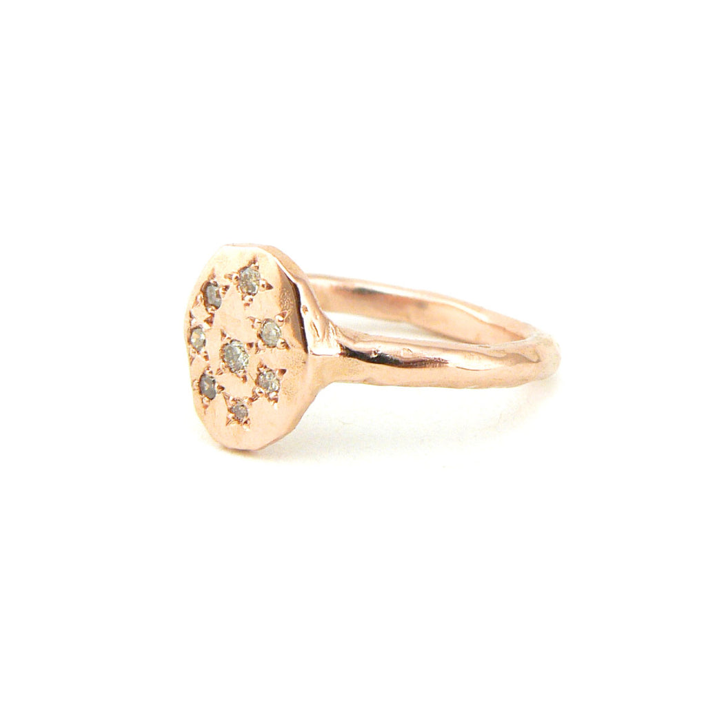Rose gold signet ring with champagne diamonds