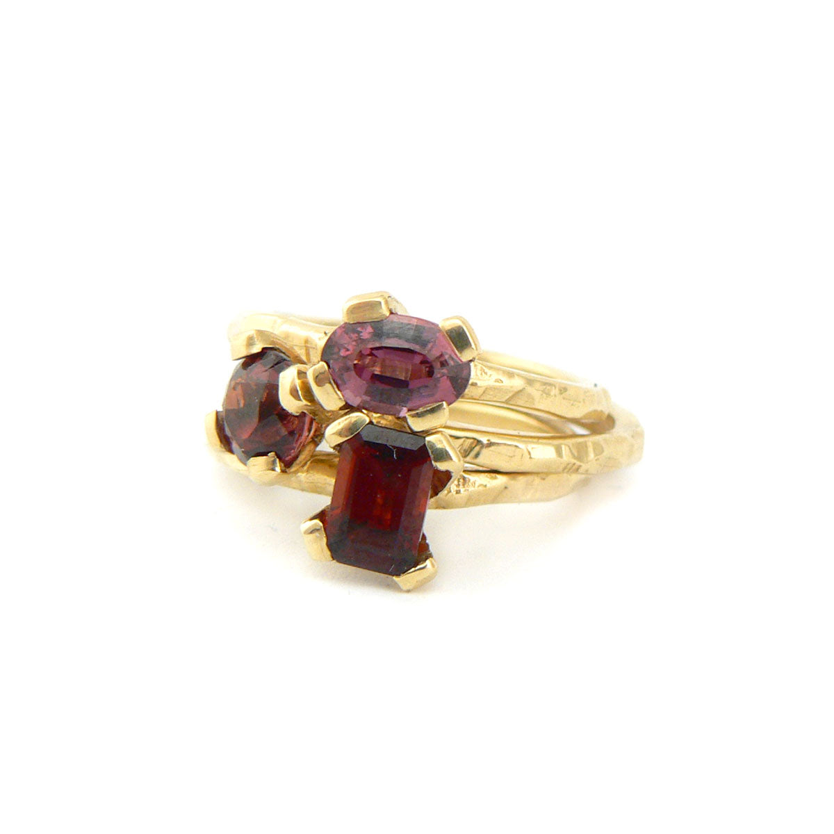 garnet and gold carved stack ring 18ct yellow gold, bespoke custom handmade