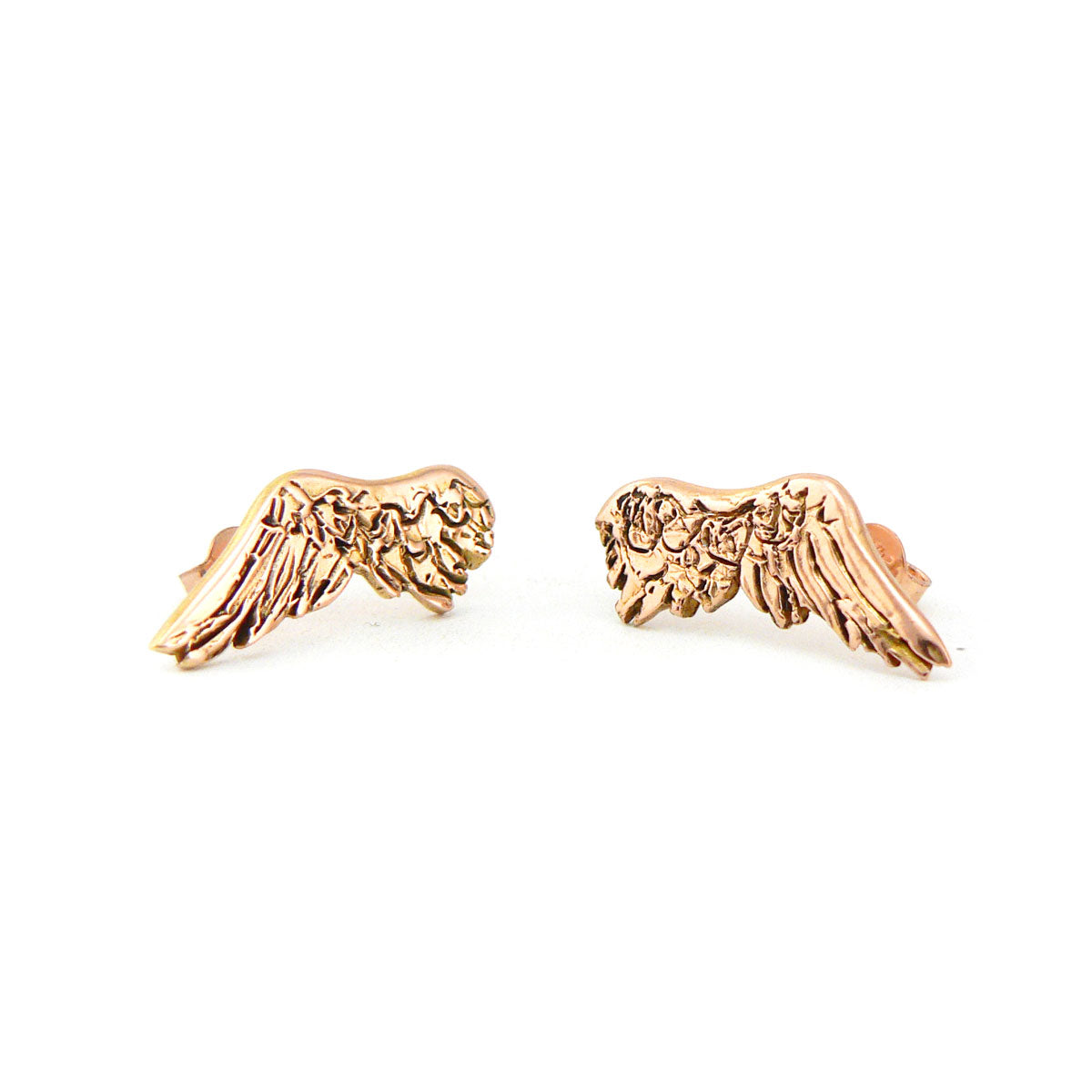 wing earrings in 9ct rose gold, bespoke custom handmade