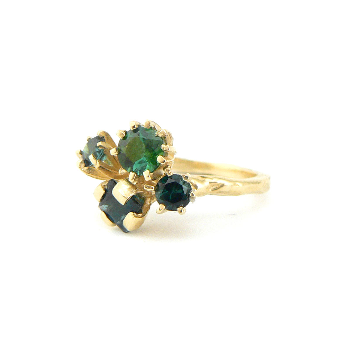Green tourmaline cluster ring in 18ct yellow gold, bespoke custom handmade