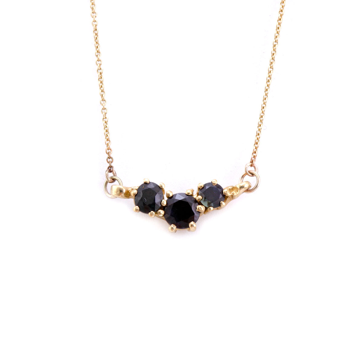 Sapphire necklace in 9ct yellow gold, gold chain bespoke handmade bespoke handmade