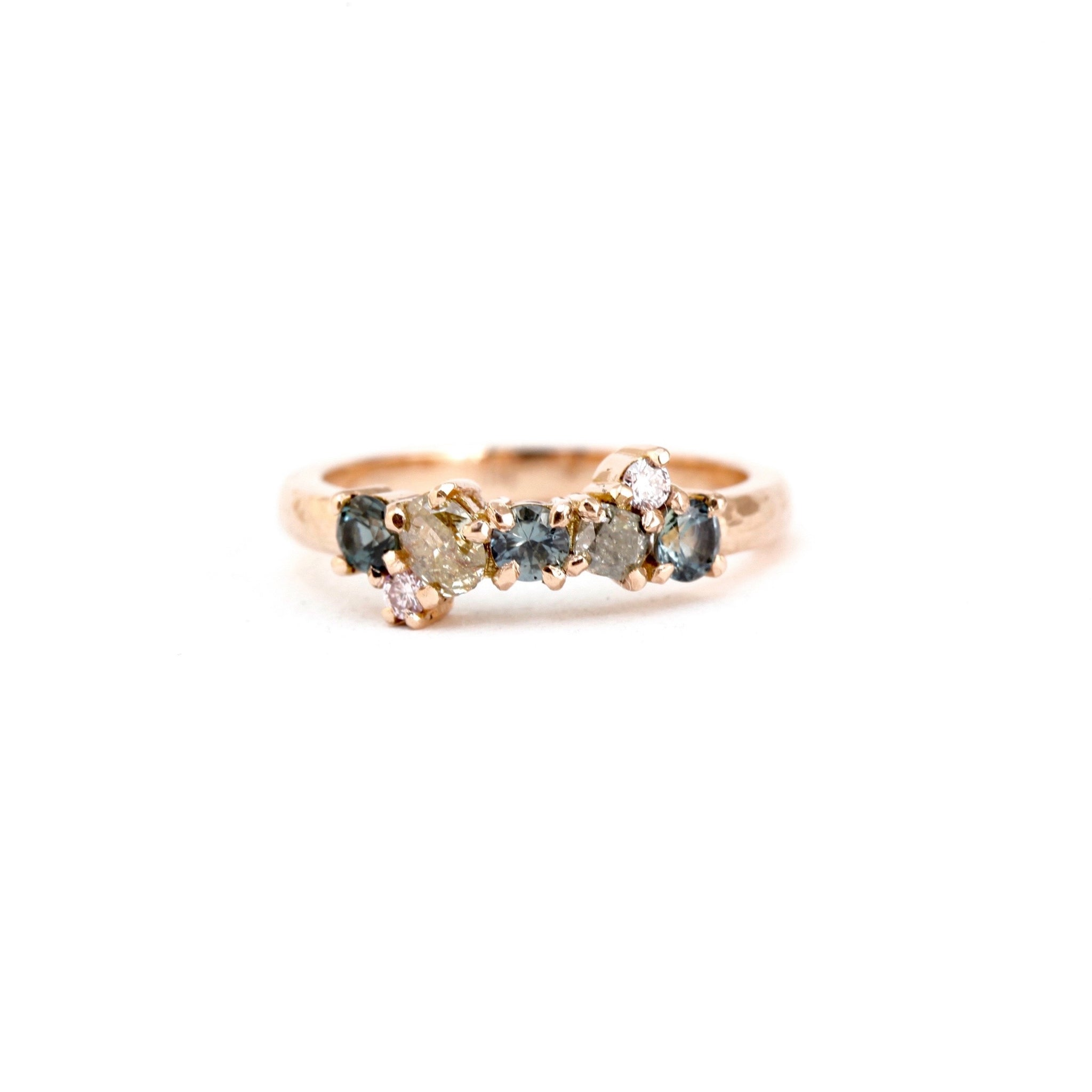 Australian sapphire and diamond rose gold wedding band in 18ct rose gold, bespoke custom handmade.
